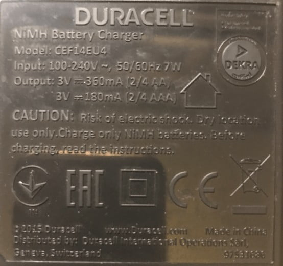Duracell Battery Charger CEF14  Back Label
