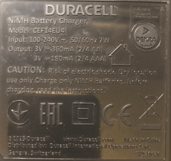 Duracell CEF14EU4 Battery Charger Back Label