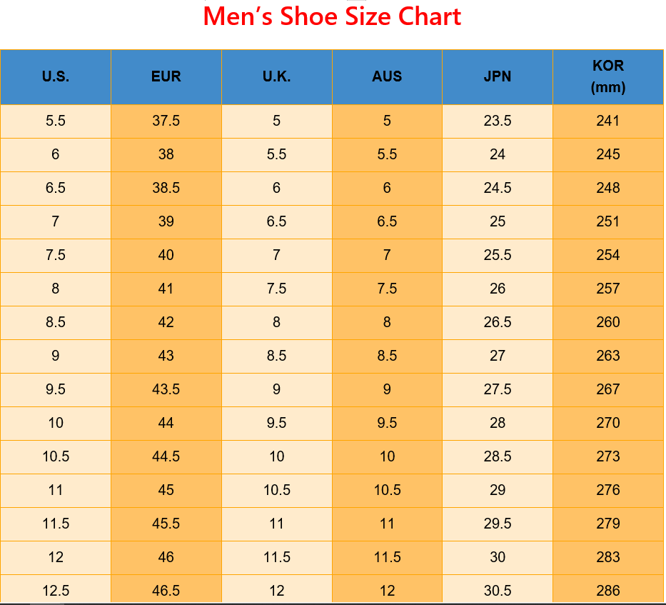 International Shoe Size Conversion Chart - US EUR UK AUS JP KOR