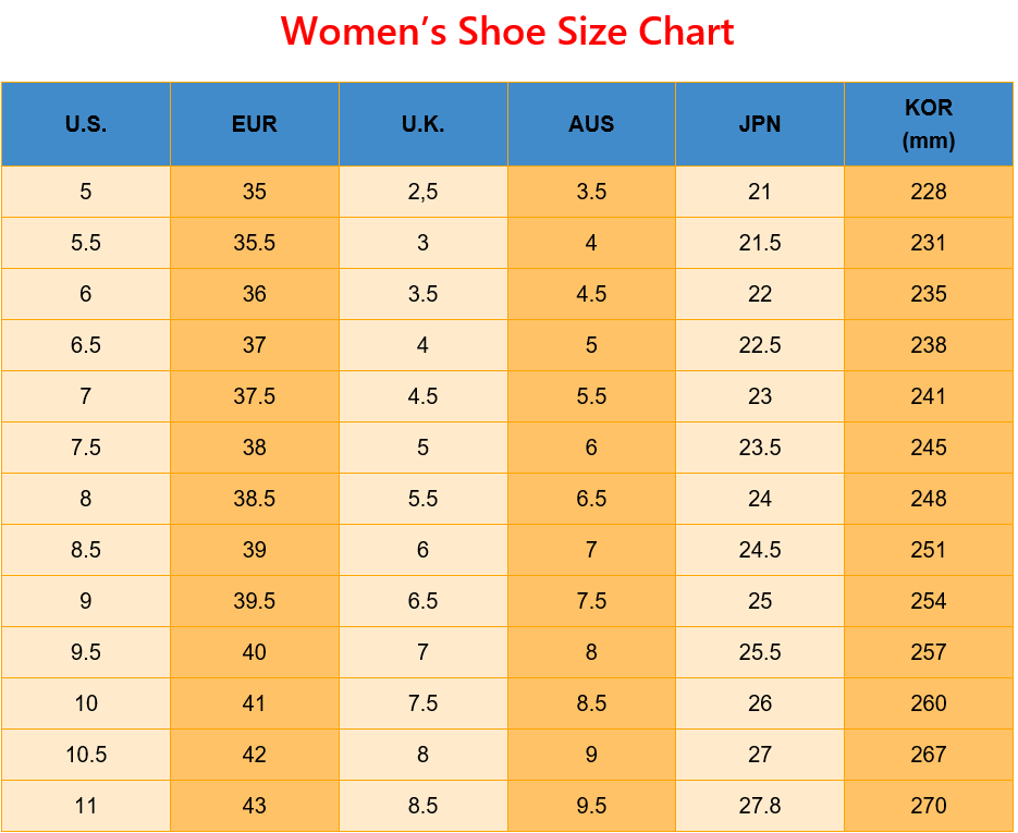 Tableau des tailles de chaussures imprimables pour femmes pour US EUR UK Tableau des tailles de chaussures AUS JP KOR UK