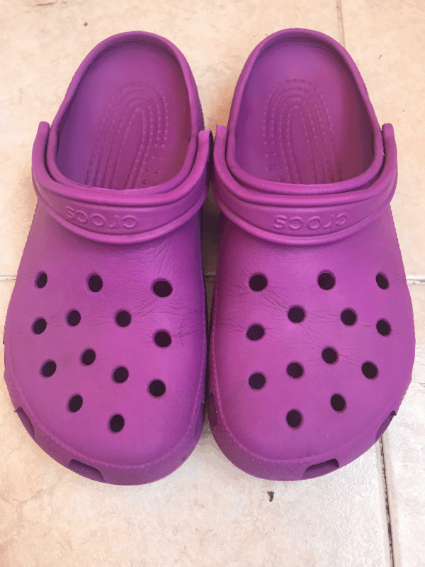 Pink Crocs - After 3 Years - Pink Crocs front view - Real life photo